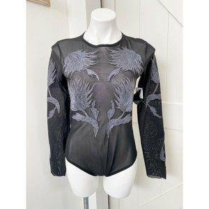 Topshop Unique Sheer Floral Embroidered Bodysuit